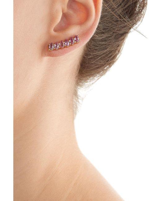 Ileana Makri   Metallic 18kt Yellow Gold Ear Cuff With Pink Sapphires   Lyst