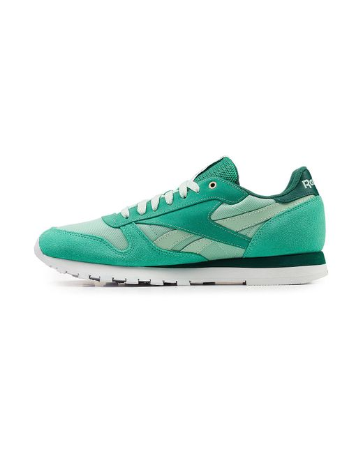 ... Reebok - Green Classic Sneakers With Leather cc58aed8f