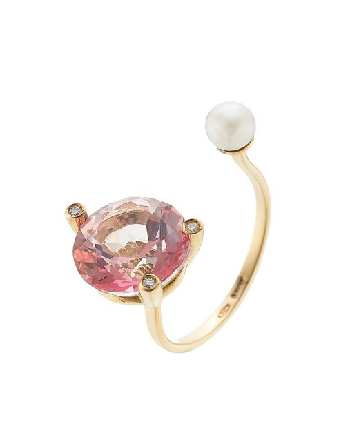 Delfina Delettrez - Metallic 18kt Gold Ring With Pink Topaz, White Diamonds And Pearl - Lyst