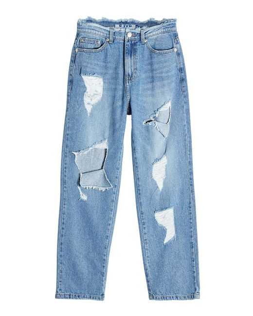 SJYP - Blue Distressed Jeans - Lyst
