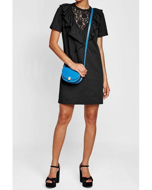 Victoria Beckham | Blue Nano Half Moon Box Leather Shoulder Bag | Lyst