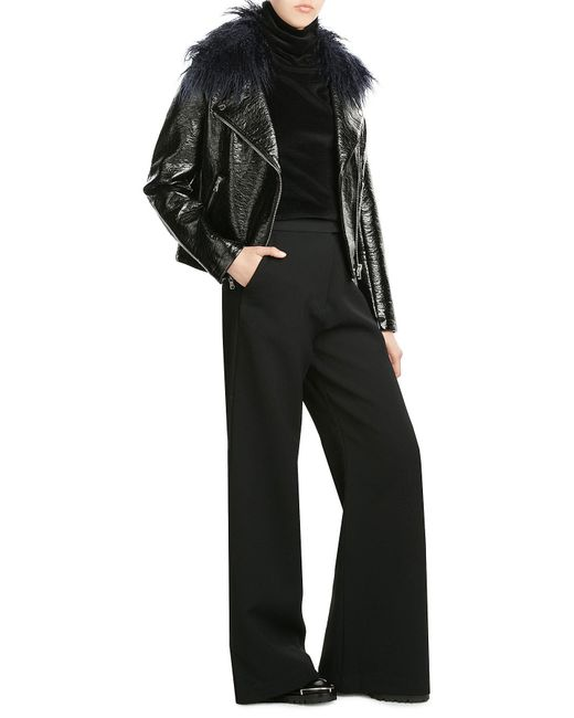 Shrimps | Black Patent Jacket With Faux Fur Collar | Lyst