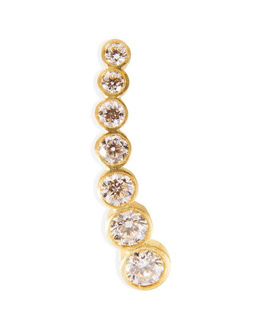 Sophie Bille Brahe - Metallic Gold/white Diamond Petite Croissant De Lune Earring - Lyst