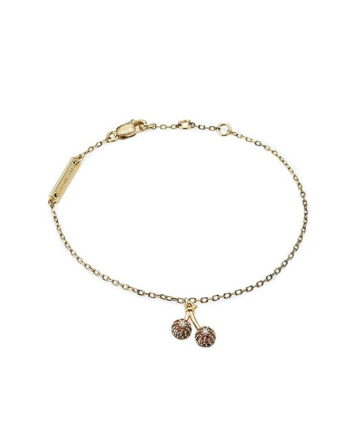 Marc Jacobs   Metallic Embellished Sterling Silver Cherry Chain Bracelet   Lyst