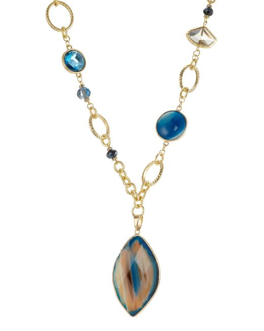 Kenneth Jay Lane - Metallic Gilded Necklace With Faceted Stones - Lyst