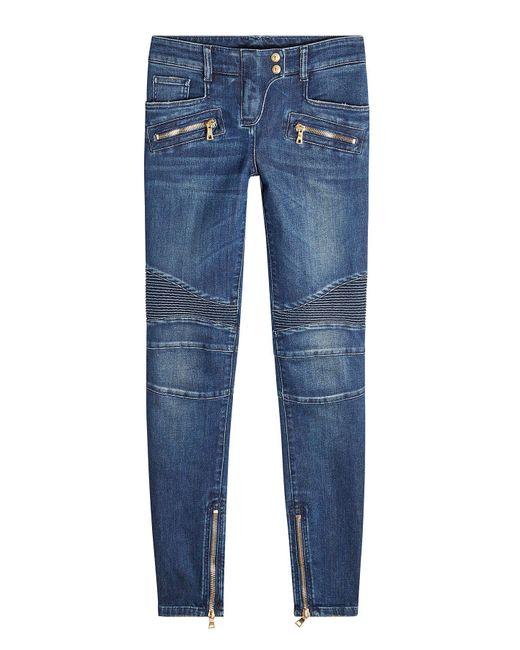 Balmain - Blue Skinny Biker Jeans - Lyst