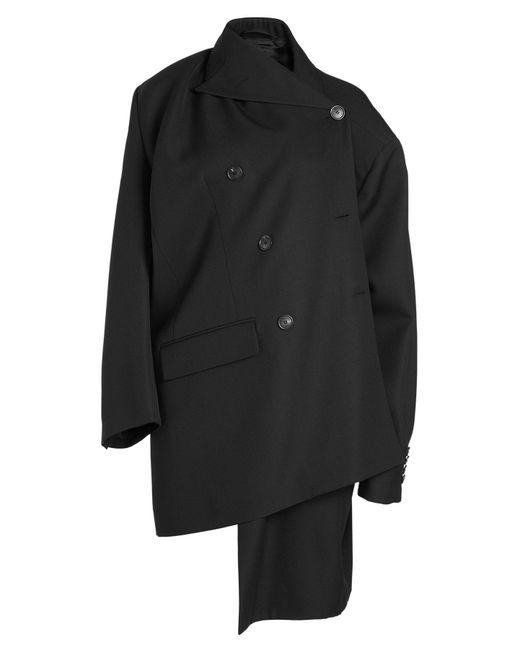 Balenciaga - Black Asymmetric Virgin Wool Coat - Lyst