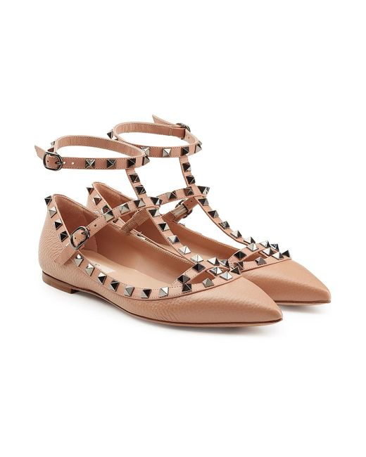 Valentino | Multicolor Rockstud Leather Ballerinas | Lyst