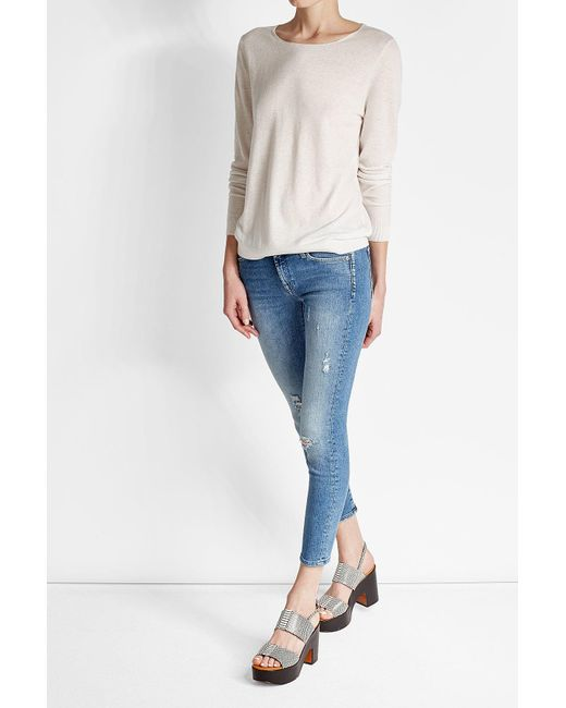 7 For All Mankind   Blue Distressed Skinny Jeans   Lyst