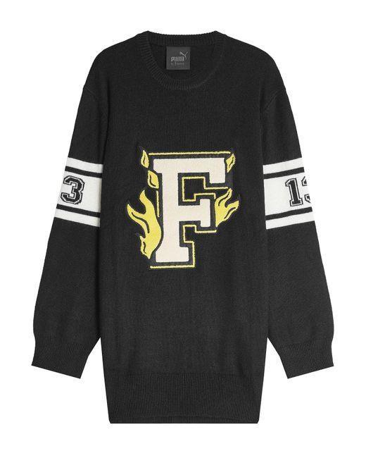 PUMA - Black Wool Varsity Sweater Dress - Lyst