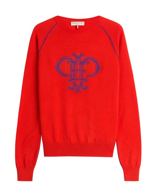 Emilio Pucci | Red Intarsia Knit Wool Pullover | Lyst