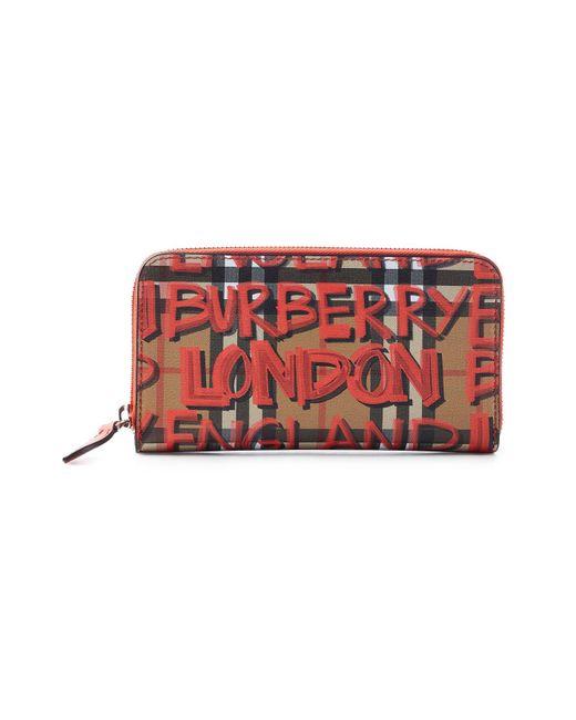 Burberry - Red Graffiti Print Calfskin Leather Zip Around Wallet - Lyst