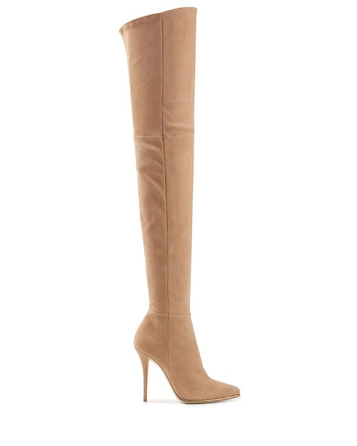balmain suede thigh high boots beige in multicolor lyst