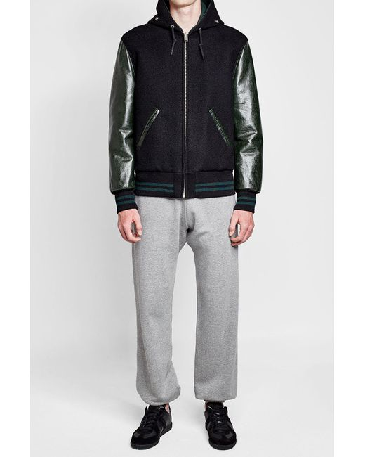 Maison Margiela | Black Wool And Calf Leather Hooded Bomber Jacket for Men | Lyst
