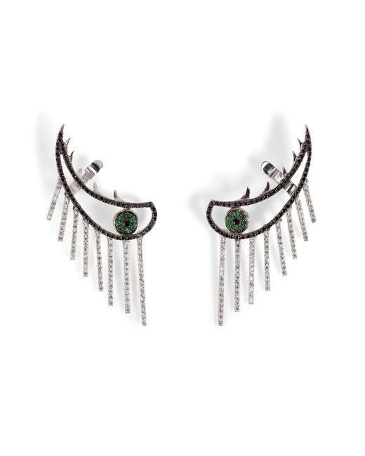 Ileana Makri - Metallic 18k Gold Weeping Eye Earring With Diamonds And Tsavorites - Lyst