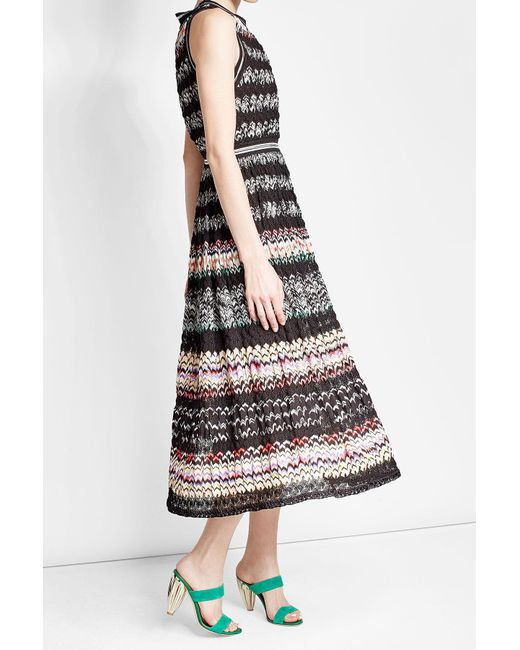 Missoni | Black Plissé Cotton Blend Dress | Lyst