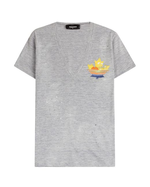 DSquared² - Blue Printed Cotton T-shirt - Lyst