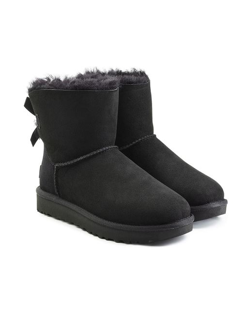 Ugg - Black Mini Bailey Striped Bow-Back Boot - Lyst