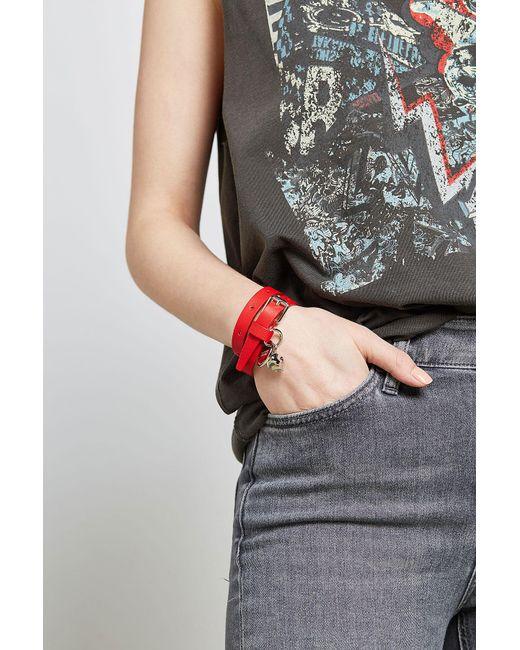 Alexander McQueen   Red Leather Wrap Bracelet   Lyst