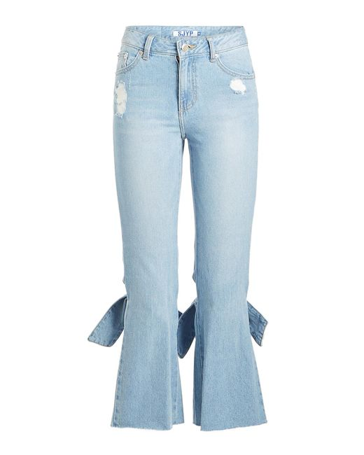 SJYP - Blue Bow Detail Cropped Jeans - Lyst