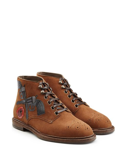 Dolce & Gabbana | Multicolor Suede Boots With Leather Appliques for Men | Lyst