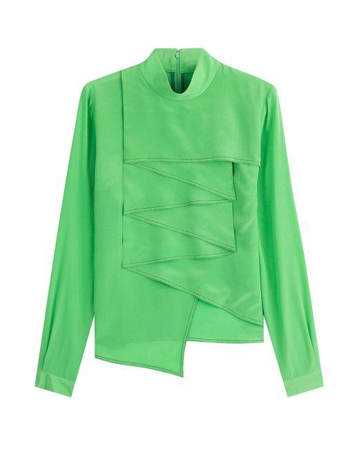 Marco De Vincenzo - Green Silk Ruffle Front Shirt - Lyst