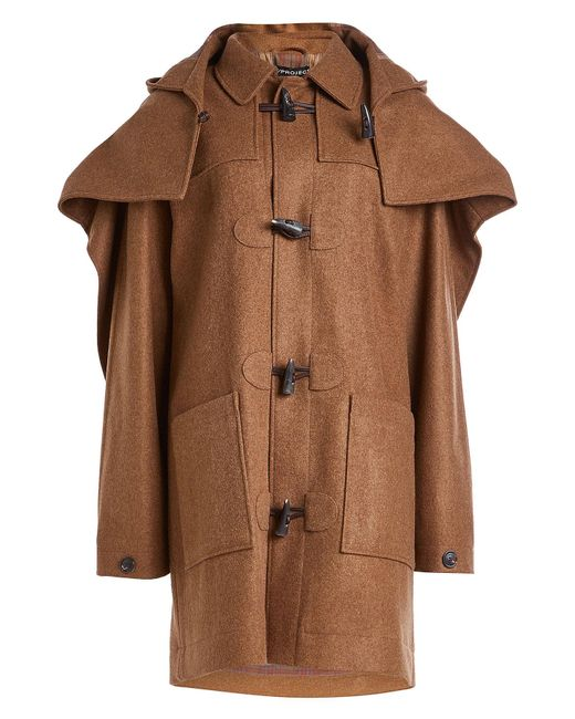 Y. Project - Brown Layered Wool Duffle Coat - Lyst