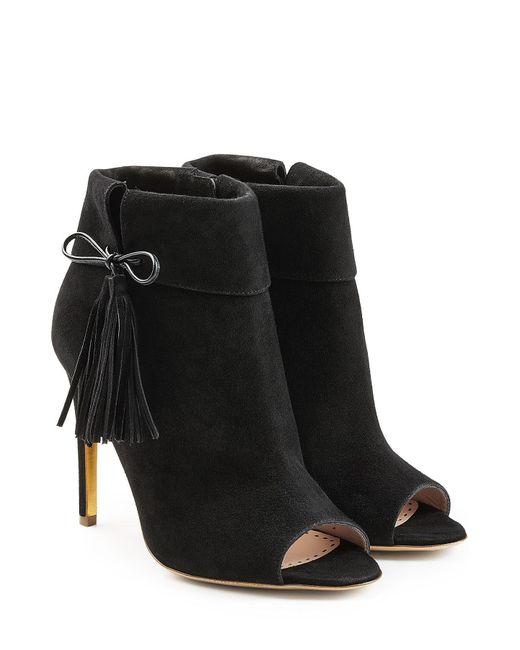 Rupert Sanderson | Black Tinsel Suede Open Toe Ankle Boots | Lyst