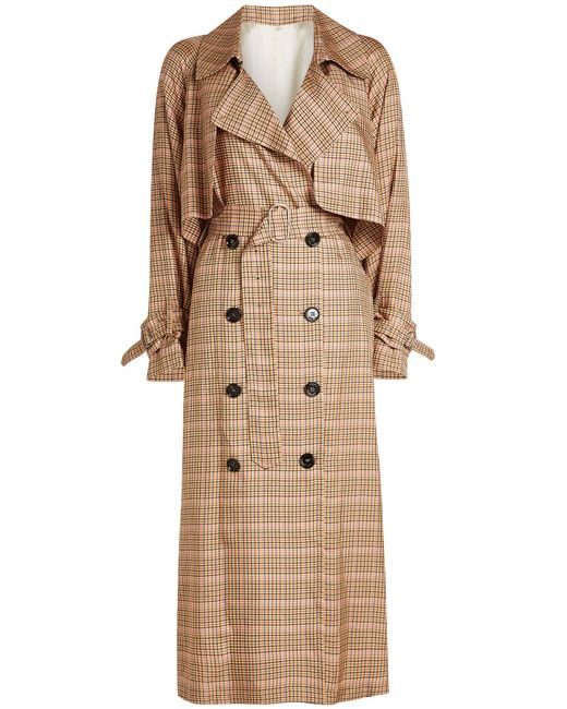 Golden Goose Deluxe Brand - Natural Vela Checked Trench Coat - Lyst