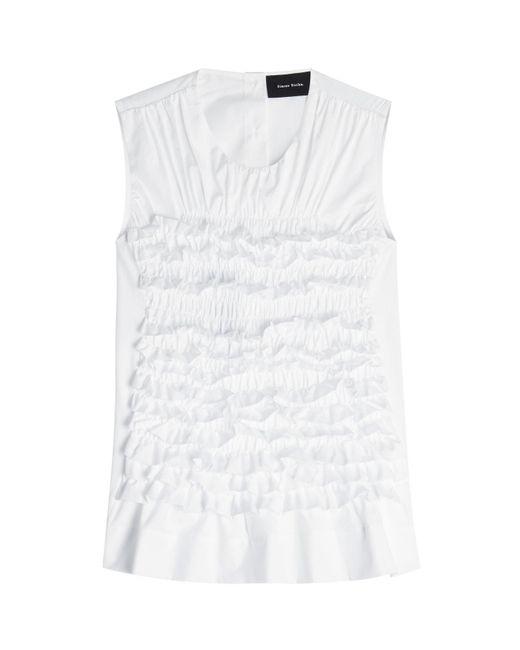 Simone Rocha | Black Sleeveless Cotton Top With Ruffles | Lyst