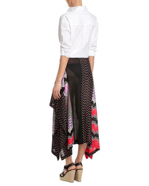... Missoni - Multicolor Draped Midi-skirt With Patchwork Print - Lyst 6e79db0e05c9e