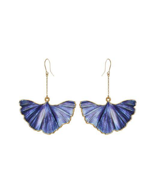 Aurelie Bidermann   Blue Ohrringe Mit 18kt Vergoldetem Ginkgoblatt-anhänger   Lyst