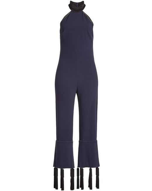 Galvan - Blue Halterneck Jumpsuit With Tassels - Lyst