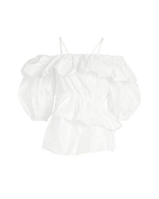 Simone Rocha - White Ruffled Silk Blouse With Straps - Lyst