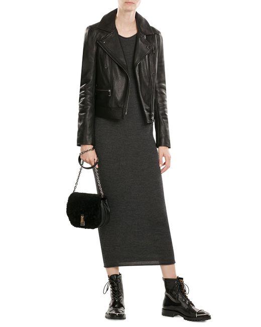Karl Lagerfeld | Black Leather Biker Jacket With Embossed Motif | Lyst