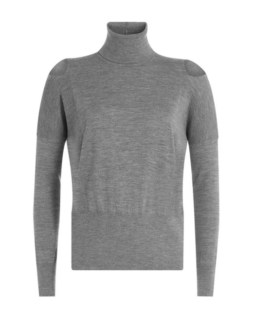 Vince - Gray Wool Turtleneck Pullover With Cut-out Shoulders - Lyst