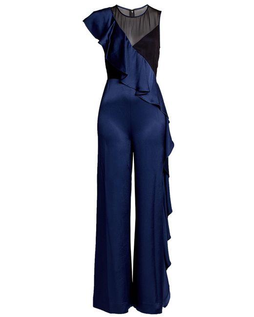 Diane von Furstenberg - Blue Silk Jumpsuit With Ruffles - Lyst