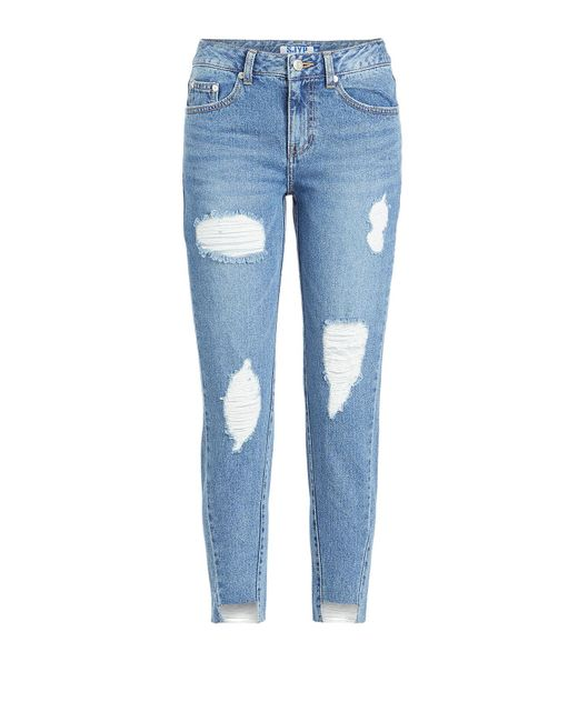 SJYP - Blue Unbalanced Hem Jeans - Lyst