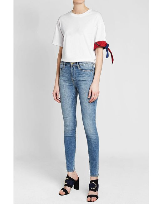b328411ca37f2 ... RED Valentino - White Bandana Cotton T-shirt - Lyst ...