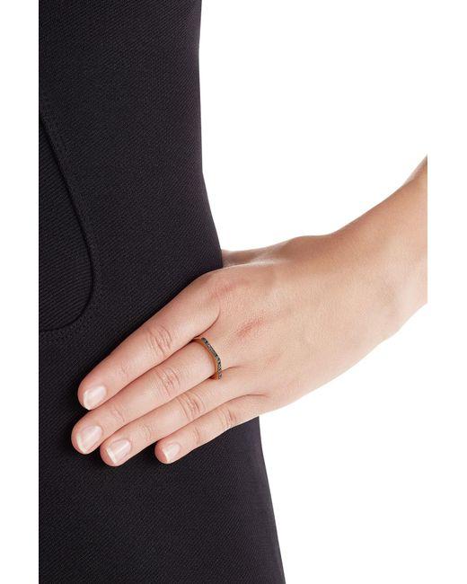 Ileana Makri   Metallic 18kt Yellow Gold Ring With Black Diamonds   Lyst