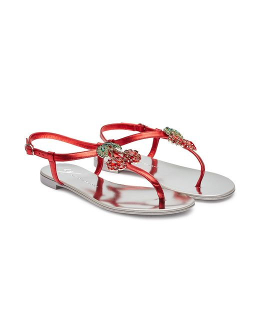 960262c5a Lyst - Giuseppe Zanotti Metallic Sandals With Cherry Pendant in Red ...