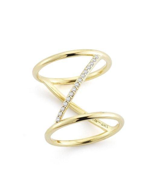 Elizabeth and James | Metallic Velde Ring | Lyst