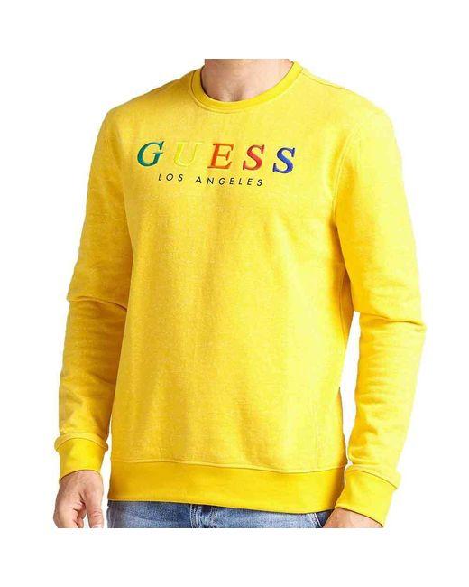 7575dc8dc Guess - Yellow Mens Jed Logo Crewneck Sweatshirt for Men - Lyst ...