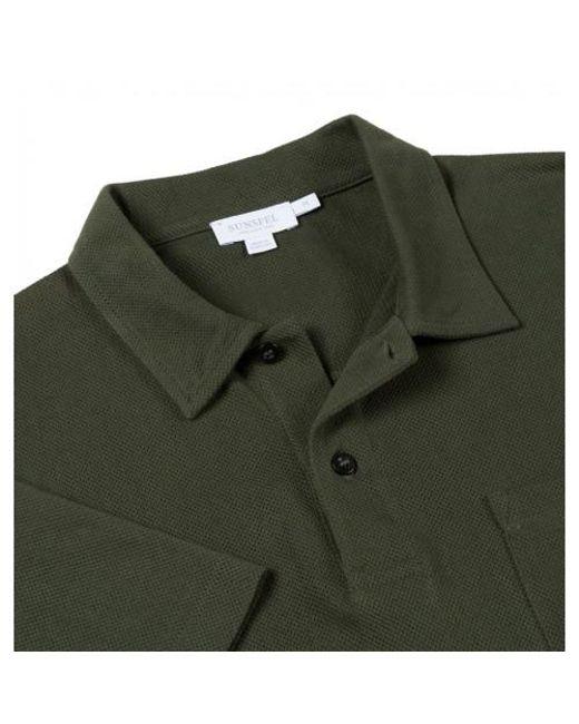 Lyst sunspel men 39 s cotton riviera polo shirt in dark for Dark green mens polo shirt
