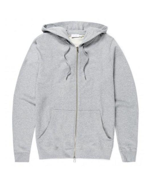 Sunspel - Gray Men's Cotton Loopback Zip Hoody In Grey Melange for Men - Lyst