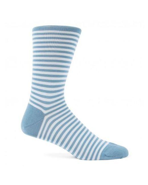 Sunspel | Men's Mercerised Cotton Stripe Socks In Airforce Blue/ice for Men | Lyst