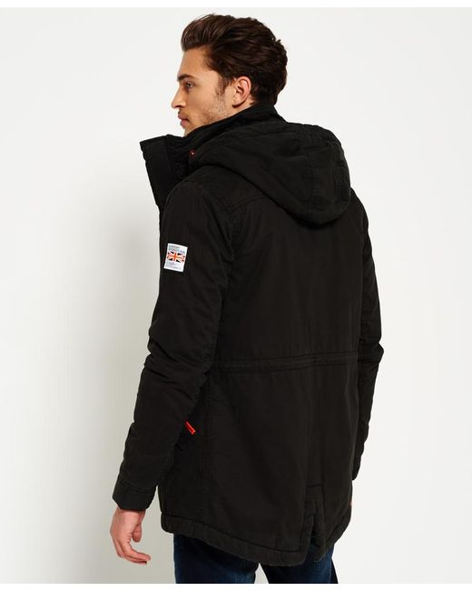Superdry Rookie Military Parka Jacket in Black for Men | Lyst