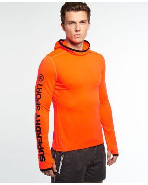 Superdry - Orange Gym Sport Runner Hoodie for Men - Lyst