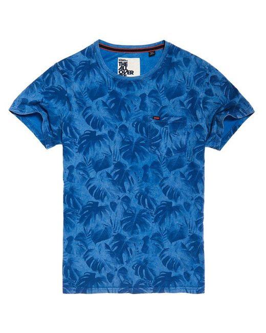 Superdry Blue Whistler All Over Print Lite T-shirt for men