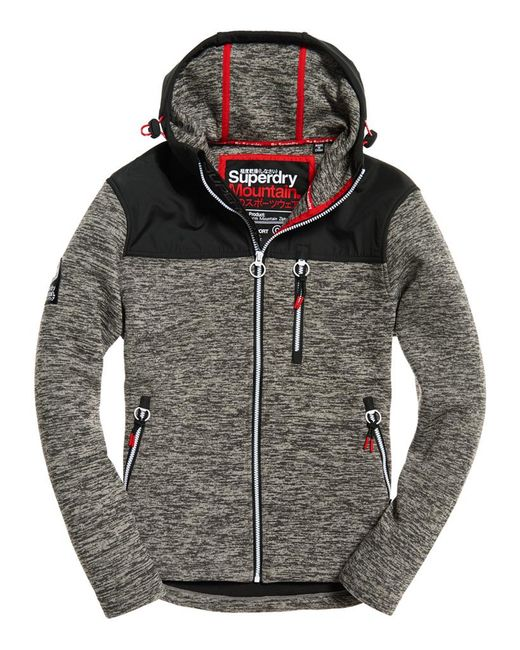 superdry storm mountain zip hoodie in gray for men save. Black Bedroom Furniture Sets. Home Design Ideas
